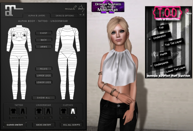 Last call for plastic surgery! I'm wearing T.O.D's Uncivil Denim (available at Olala event) and Valentina E's Bittersweet Draped Top (available at Fameshed).