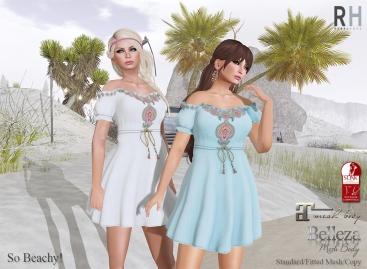 Rebel Hope - So Beachy dress - Fameshed - Slink Maitreya and Belleza