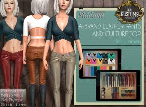 Addams - Leather Pants & Culture Top @ Kustom 9 - Belleza Maitreya Slink