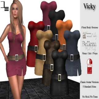 DE Designs - Vicky dress - Belleza Freya, Isis, Venus; Maitreya & Slink sizes