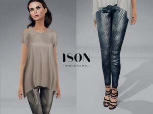 ISON - shoulder cut top & fish scale leggings @ Collabor88 - maitreya